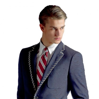 Tipped three-button blazer Tipped three-button blazer, $798, by Brooks Brothers