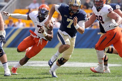 Tom Savage Pitt quarterback Tom Savage runs for the first down during their game against Virginia at Heinz Field.