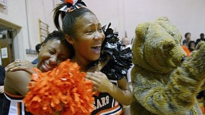 Tori James Cheerleaders Tori James, 17, left, and Coreiona Wright, 14, laugh while the football players are acknowledged during a pep rally on Nov. 8.
