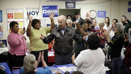 Vice President Joe Biden Vice President Joe Biden speaks with volunteers during a visit to a campaign field office in Davenport, Iowa.
