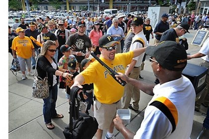 wanded by security people The new security procedures require all people attending Pirates games to be wanded by security people as they enter PNC Park.