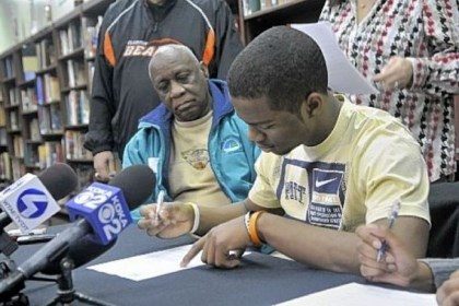 Webb Terrish Webb, a member of the Clairton High School football team, signs his letter of intent to play for the University of Pittsburgh.
