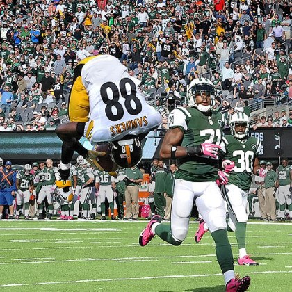 Wide receiver Emmanuel Sanders 5 Steelers wide receiver Emmanuel Sanders does a flip into the end zone in the third quarter against the Jets.