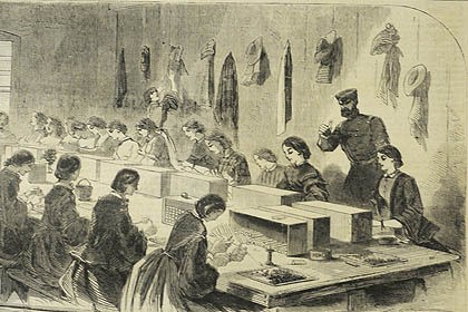 Winslow Homer's engraving Winslow Homer's engraving, published in the July 1861 issue of Harper's Weekly, shows women making ammunition at the federal arsenal in Watertown, Mass.