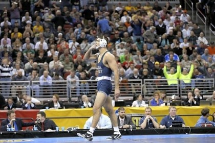 wright Penn State's Quentin Wright blows kisses after defeating Kent State's Dustin Kilgore in the 197-pound title match Saturday at the NCAA wrestling championships in Des Moines, Iowa.