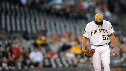 Zach Duke The Pirates' Zach Duke hangs his head just before being pulled Wednesday at PNC Park.
