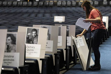 Zachary Quinto's Emmys seat Green Tree native Zachary Quinto is among the faces of Emmy nominees on placards as Lindsay Saunders organizes seating arrangements for the awards ceremony Sept. 22 at the Nokia Theatre in Los Angeles.