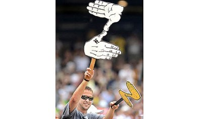Zoltan A fan shows support with a Zoltan sign Saturday at PNC Park.