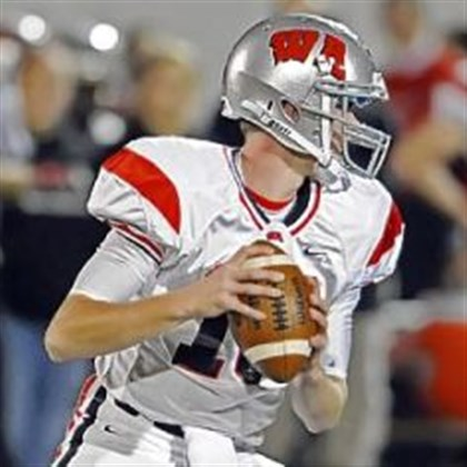 hssigns1227 West Allegheny quarterback Andrew Koester sports the Wisconsin Badgers-style W on his helmet.