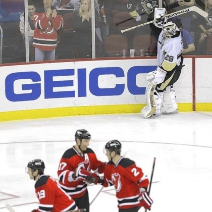 fleury Marc-Andre Fleury reacts after allowing the Devils to score in Newark, N.J.