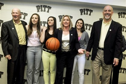 006.jpg Suzie McConnell-Serio poses with her father Tom McConnell, left to right, daughters Jordan, Mandi, Madison and husband Pete Serio at an April press conference announcing her as the new women's basketball coach for the University of Pittsburgh.