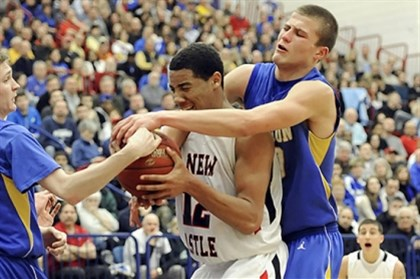 luther0212 Hampton standout Ryan Luther, right, grapples for a rebound with New Castle's Shawn Anderson in last season's WPIAL Class AAAA title game.