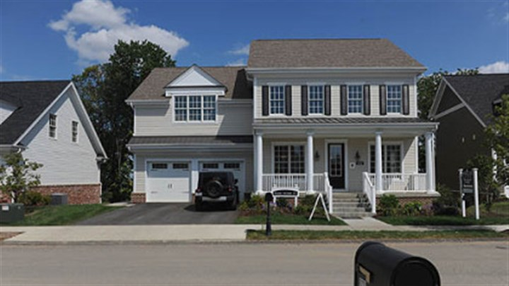 1224 Newbury Highland The exterior of a model home in the Newbury plan in South Fayette, which is priced at $615,060.
