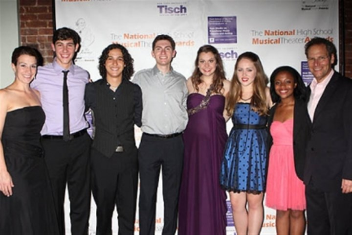 2012 Jimmy Award finalists Choreographer Kiesha Lalama, left, and National High School Musical Theater Awards president Van Kaplan, right, with the 2012 Jimmy Award finalists: From left, Drew Shafranek, winner Joshua Grosso, Evan Greenberg, winner Elizabeth Romano, Nicolette Burton and Center Township's Erica Durham.