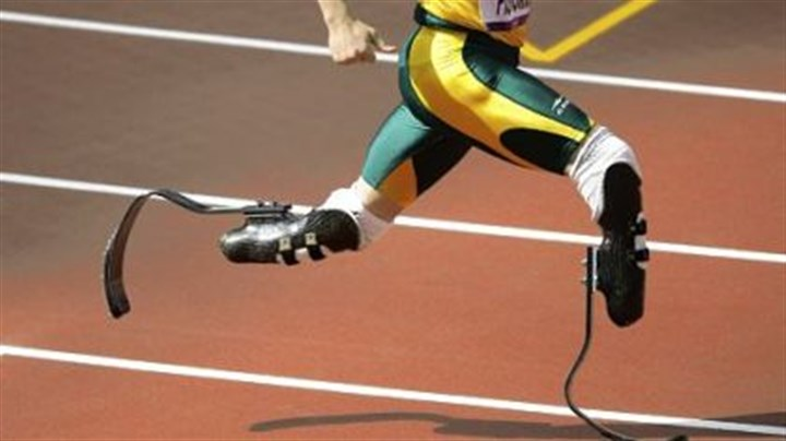 400-meter heat South Africa's Oscar Pistorius competes in a men's 400-meter heat.