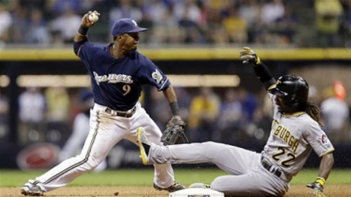 Andrew McCutchen The Brewers' Jean Segura forces out the Pirates' Andrew McCutchen at second base during the third inning in Milwaukee.