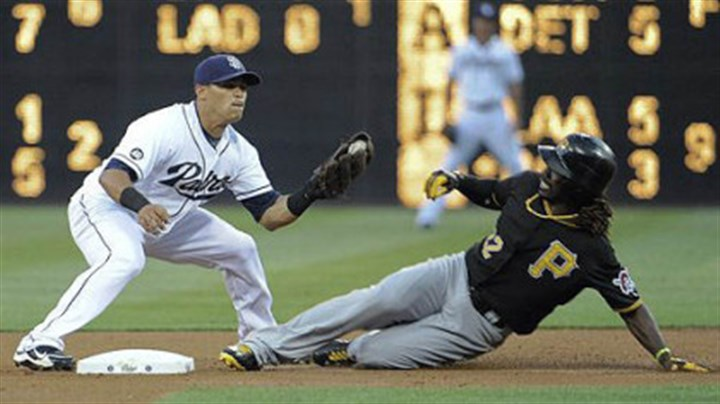 Andrew McCutchen the Pirates' Andrew McCutchen steals second base in front of the tag of Everth Cabrera of the Padres during the first inning at Petco Park in San Diego.