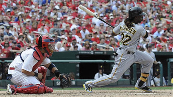 Andrew McCutchen The Pirates' Andrew McCutchen hits a one-run single, which scored Jeff Karstens during the sixth inning against the Cardinals Sunday in St. Louis.