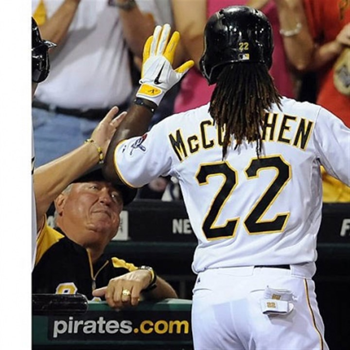 Andrew McCutchen and Clint Hurdle The Pirates' Andrew McCutchen is congratulated by manager Clint Hurdle after hitting a home run against the Marlins in the fourth inning Wednesday night at PNC Park.