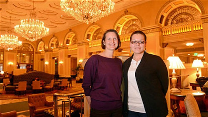 Angelica Davila ACLU staff attorney Sara Rose, left, and plaintiff Angelica Davila on Monday inside the Omni William Penn Hotel in Downtown Pittsburgh.