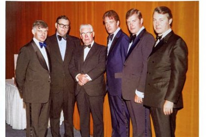 Art Rooney Sr. with his sons Dan, Art Jr., Pat, John and Tim Art Rooney Sr., third from left, with his sons Dan, Art Jr., Pat, John and Tim at the Waldorf Astoria Hotel in New York City in 1976 for an Ireland Fund Dinner.