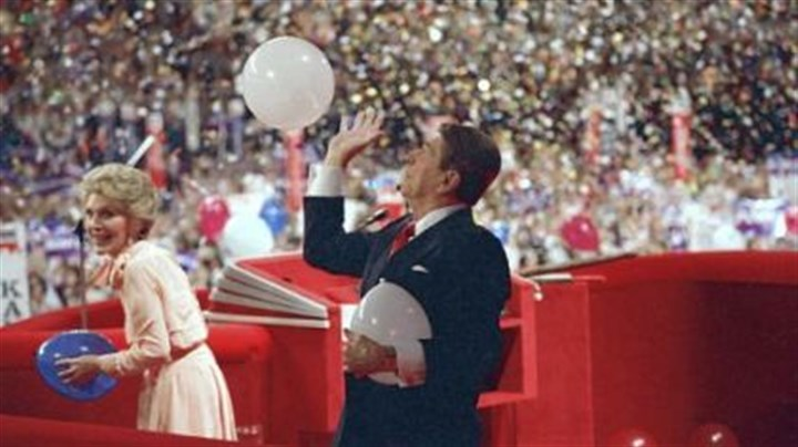 Balloons Balloons descend on President Ronald Reagan and first lady Nancy Reagan on the podium of the Republican convention in 1988.