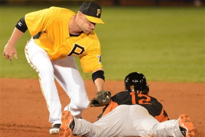 Barmes Baltimore's Alexi Casilla slides under the tag of Pirates shortstop Clint Barmes.