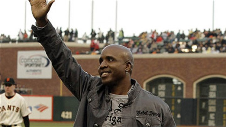 Barry Bonds Former Giants and Pirates left fielder Barry Bonds waves to fans after a pre-game tribute to Sue Burns, a part owner of the Giants and friend of Bonds who lost her fight with cancer.