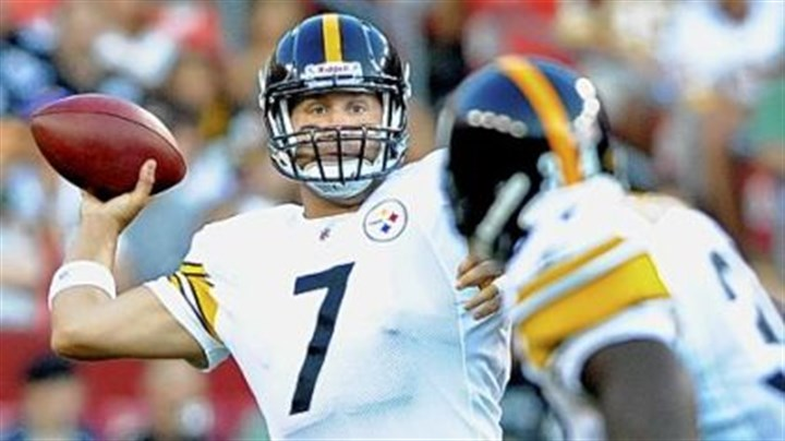 Ben Roethlisberger Steelers quarterback Ben Roethlisberger drops back to pass against the Redskins Friday night at FedEX Field in Landover, Md.