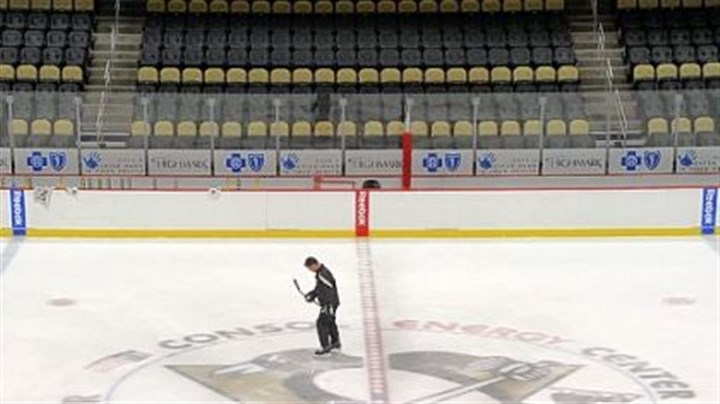 "bill Bill Guerin is the last to leave the ice after Wednesday's morning session of the Prospect Camp at Consol Energy Center. Says Guerin, who oversees player development: ""I liked doing that as an older player, helping guys out. Right now it's the perfect job for me."""