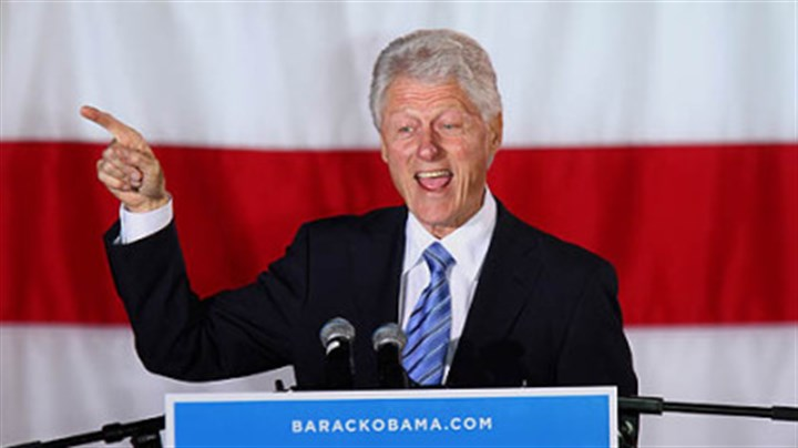 Bill Clinton Former President Bill Clinton speaks Sunday at a rally for Barack Obama at Pullen Park in Raleigh, N.C.