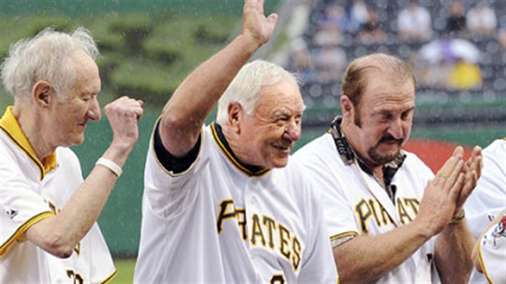 Bill Mazeroski Pirates hall-of-famer Bill Mazeroski waves to the crowd after being introduced during a ceremony honoring the 100th anniversary of Forbes Field last night. Mazeroski is flanked by Nellie King, left, and Bob Robertson.
