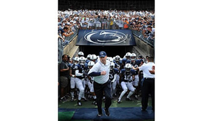 Bill O'Brien Penn State head coach Bill O'Brien leads the Nittany Lions onto the field at Beaver Stadium for the season opener against Ohio University. Mr. O'Brien replaces coach Joe Paterno, who was fired in the wake of the Jerry Sandusky child sexual abuse scandal.