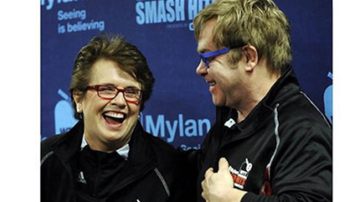 Billie Jean King and Elton John Billie Jean King and Elton John share a laugh at a news conference before the start of the Mylan World Team Tennis Smash Hits Tuesday at Petersen Events Center.