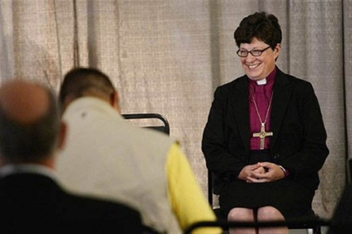 Bishop Elizabeth Eaton Bishop Elizabeth Eaton of Cleveland speaks during a news conference Wednesday after being elected the first female presiding bishop of the Evangelical Lutheran Church of America during a conference Downtown.