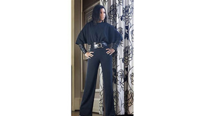 Black crepe jumpsuit with leather sleeves Black crepe jumpsuit with leather sleeves, a Kiya Tomlin design for Fall 2012.
