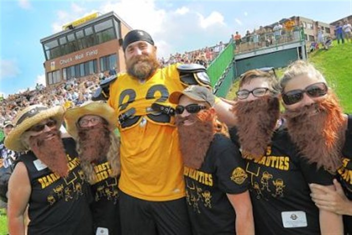 "Brett's Bearded Beauties Brett Keisel poses with ""Brett's Bearded Beauties"" during afternoon workouts at Steeler Training Camp last year. Share your own training camp moments with the Steeler Nation at http://www.post-gazette.com/steelerfanphotos"
