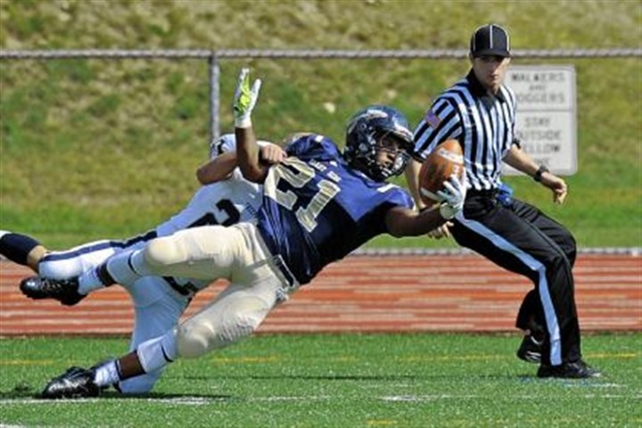 brevard Shady Side Academy's Jarred Brevard dives for the end zone at the end of a 53-yard run Saturday in an Allegheny Conference game. Shady Side won, 28-0.