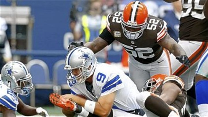 browns Craig Robertson, top, and D'Qwell Jackson register one of Cleveland's seven sacks against Dallas quarterback Tony Romo last week in the Browns' 23-20 overtime loss to the Cowboys.