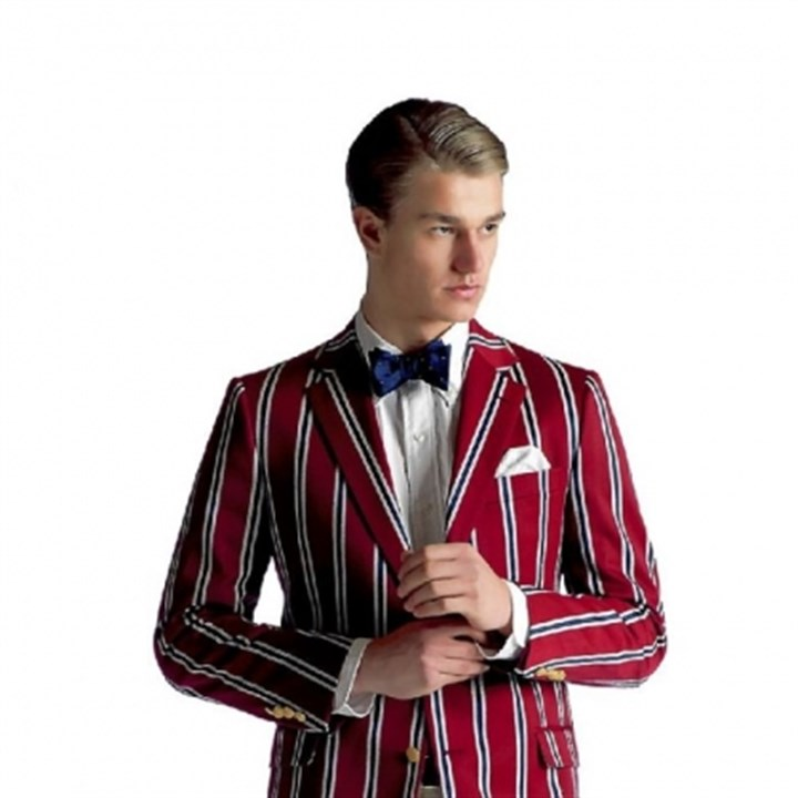 Burgundy stripe regatta blazer Brooks Brothers burgundy stripe regatta blazer, $798.