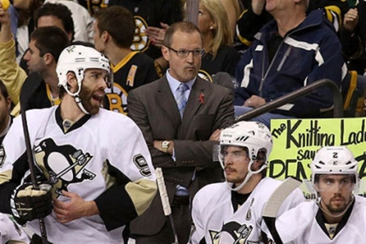 bylsma from the bench Dan Bylsma looks on from the bench with Pascal Dupuis, Sidney Crosby, and Matt Niskanen during Game 4.