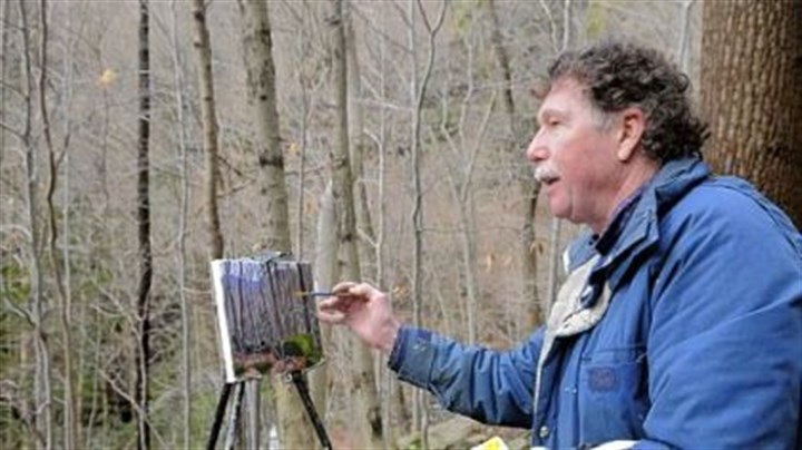 "Charles ""Bud"" Gibbons paints Charles ""Bud"" Gibbons paints in the Roaring Run Watershed near New Kensington, one of his favorite locations. He drew elements of his painting, ""Winter,"" from this site and another in Forbes State Forest."