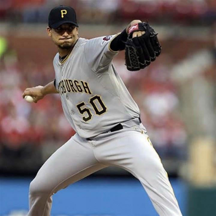 Charlie Morton Pirates starting pitcher Charlie Morton throws during the first inning.