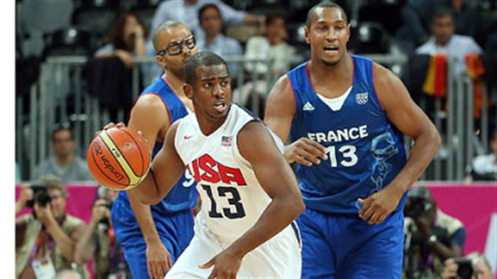 chris paul Chris Paul moves the ball upcourt in the U.S. men's basketball team's 98-71 win against France Sunday in London.