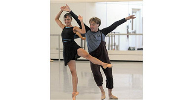 "Christine Schwaner and Christopher Budzynski Christine Schwaner and Christopher Budzynski rehearse ""Step Touch"" by Dwight Rhoden for the Pittsburgh Ballet Theatre's upcoming tour in Israel."