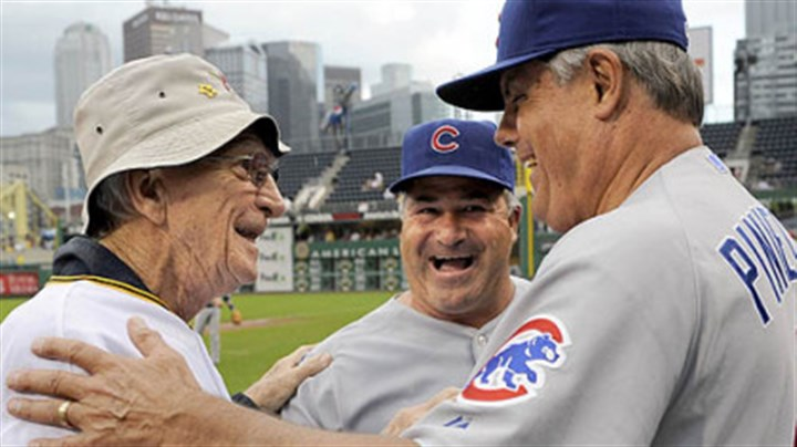 Chuck Tanner, Lou Piniella and Matt Sinatro Former Pirates manager Chuck Tanner greets Cubs manager Lou Piniella, right, and first base coach Matt Sinatro after a ceremony honoring the 100th anniversary of Forbes Field last night.