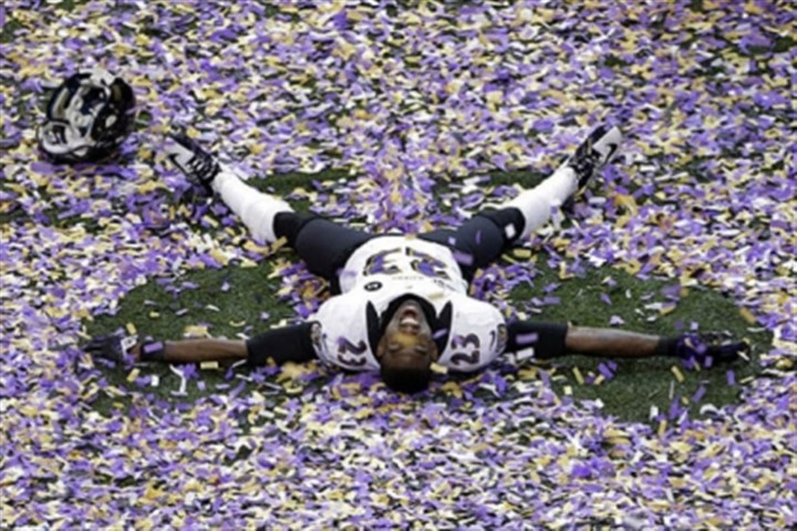 Chykie Brown Ravens defensive back Chykie Brown celebrates after Super Bowl XLVII against the 49ers in New Orleans. The Ravens won 34-31.