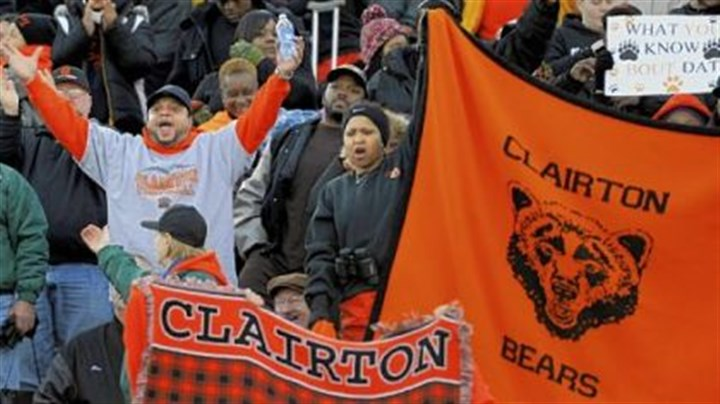 Clairton For the 63rd time in a row, Clairton fans celebrate a victory ... this one for the Bears' fourt consecutive PIAA Class A title.
