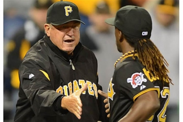 Clint Hurdle Pirates manager Clint Hurdle congratulates Andrew McCutchen after beating the Reds 6-5.