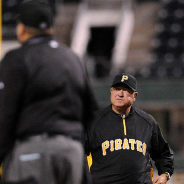 Clint Hurdle and Fiedin Culbreth Pirates manager Clint Hurdle approaches home plate umpire Fiedin Culbreth in the 6th inning on an out for the Pirates.